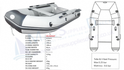 Waveline 2.9m Airdeck Inflatable Dinghy Tender V Hull Solid Transom
